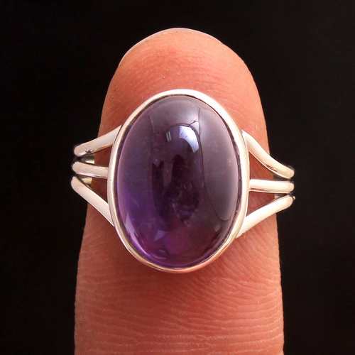 Amethyst Gemstone 925 Sterling Silver Jewelry Solid Handmade Ring Size US 6