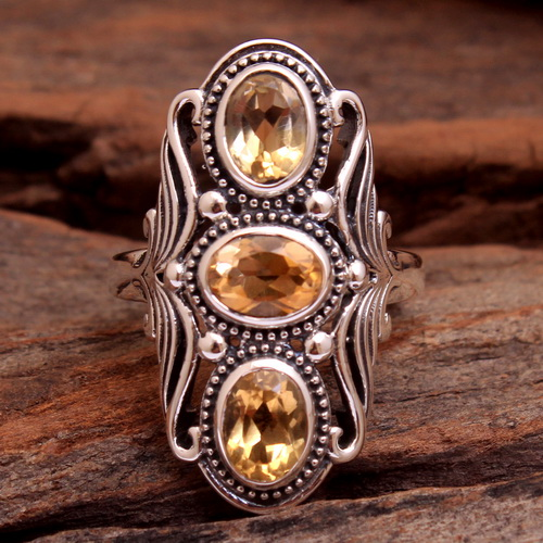 Faceted Citrine Gemstone 925 Sterling Silver Jewelry 3 Stone Ring Size US 7