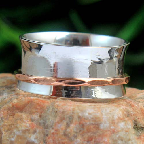 Meditation Spinner 925 Sterling Silver Jewelry Designer 2 Tone Ring Size US  8