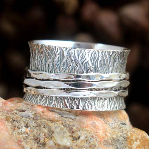 Meditation Spinner Solid 925 Sterling Silver Jewelry Designer Ring Size US 10