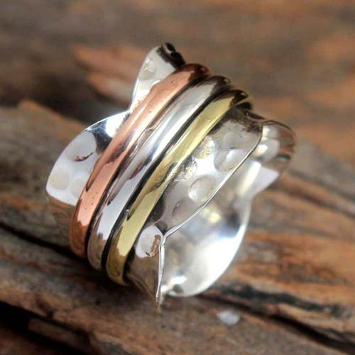 Three Tone Meditation Spinner 925 Sterling Silver Beautiful Ring Size US 7