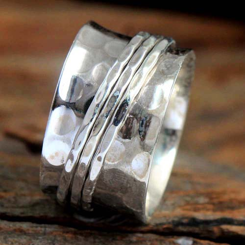 Meditation Spinner Solid 925 Sterling Silver Jewelry Designer Ring Size US 8