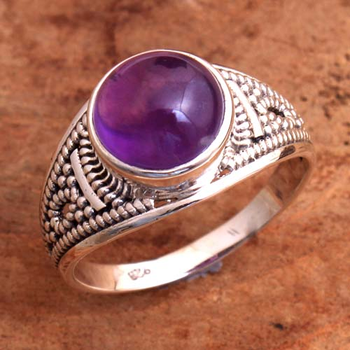 Purple Amethyst Cab Gemstone 925 Sterling Silver Jewelry Ring Size US 7.5